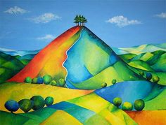 painting of hills - Google Search