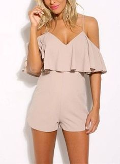 Buy 2018 new fashion summer women solid color ruffles jumpsuit sexy strapless tunic rompers playsuits Summer Outfits, Cute Outfits, Beauty And Fashion, Fashion Outfits, Womens Fashion, Fashion Trends, Long Sleeve Romper, Rompers Women, Streetwear