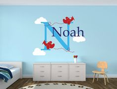 Airplane Name Decal - Clouds Decal Nursery Decor - Airplane Decal Childs Room Decor Vinyl Wall Decal Airplanes With Clouds on Etsy, $18.00