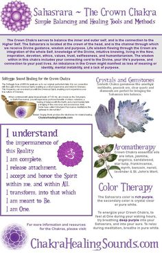 Open your Crown Chakra with colors, crystals, chakra healing sound and yoga to balance and open the Sahasrara Crown Chakra to the Divine. Chakra Heilung, Crown Chakra, Healing Meditation, Mindfulness Meditation, Meditation Music, Pranayama, Wicca, Reiki Courses, Chakra Affirmations