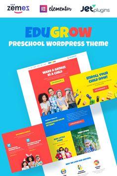 Edugrow - Preschool WordPress Theme with a Vivid Design WordPress Theme Child Genius, School Template, Education Templates, First Website, Wordpress Template, Create Website, Premium Wordpress Themes, Business Website, First Step