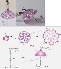 Regenschirm aus Perlen, Anhänger für Bettelarmband