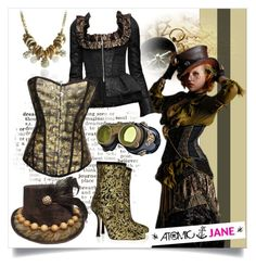 """""""Steampunk and Skulls"""" by atomic-jane ❤ liked on Polyvore featuring D&G, Oscar de la Renta, corset, steampunk, steam and steampunkcorset"""