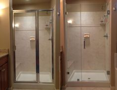 Before and After pics of framed shower versus a frameless shower door. Frameless shower doors complete any bathroom remodeling job.