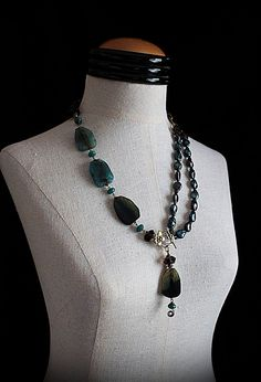 TEAL DREAMS Teal Baroque Pearl and Quartz by carlafoxdesign, $125.00