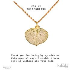 Bridesmaids Leaf Necklace https://www.etsy.com/listing/226746366/bridesmaids-jewelry-gifts-gold-dipped