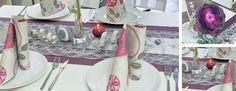 Tischdekoration zur Silberhochzeit in Silber / Aubergine