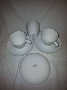 Corning White Centura Coffee Cups and Saucers Set of 4