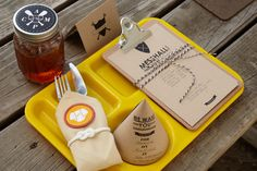 Camp Place Setting. Turn setting the tableware into an activity worthy of earning an activity badge with teepee invitations, clipboards with activity sheets, custom camp patches and knot napkin rings.