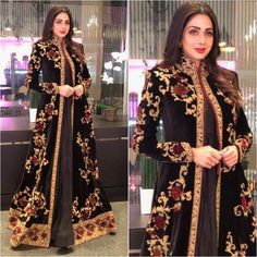 Sridevi in Embroidered Jacket Style Anarkali Suit By Rohit Bal Best Picture For Bridal Outfit winter For Your Taste You are looking for something, and it is going to tell you exactly what you are look Designer Party Wear Dresses, Kurti Designs Party Wear, Indian Designer Outfits, Pakistani Dress Design, Pakistani Outfits, Indian Outfits, Abaya Fashion, Indian Fashion, Fashion Dresses