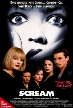 Scream is a 1996 American slasher film written by Kevin Williamson and directed by Wes Craven. The film stars Neve Campbell, Courteney Cox, Drew Barrymore, and Best Horror Movies, 90s Movies, Scary Movies, Great Movies, Movies To Watch, Awesome Movies, Comedy Movies, Drew Barrymore, Film Scream