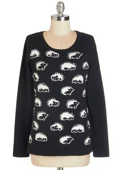 Take Your Prickle Sweater. When youre in need of a cute and cuddly companion, this black-and-white sweater is always a top choice! #black #modcloth