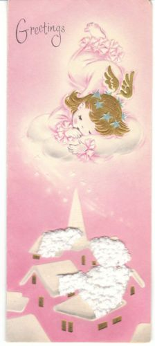 Vintage Christmas Card Angel on Cloud 3D White Snow Pink Slim Made in USA Angels