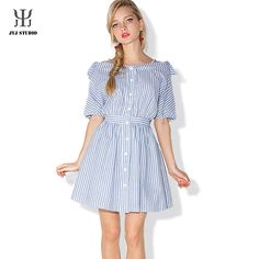 Aliexpress.com : Buy Women Striped Shirt Dress Lantern Sleeve Slash Neck Blue Striped Dress A line Button Summer Dress from Reliable dresses for larger women suppliers on JYJ STUDIO