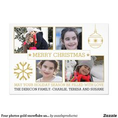 Four photos gold snowflake and ornament Christmas 5x7 Paper Invitation Card