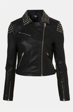 Womens leather jacket black color with square studs and zippers in silver sleeves and sides with a price of $ 1800 in sizes 5-9