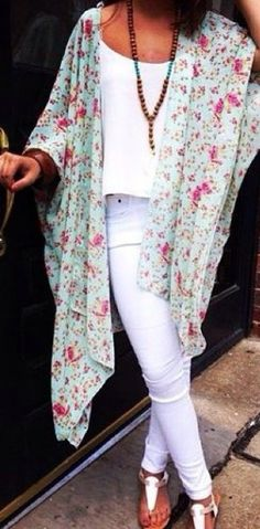 Love the whole look, especially the light floral kimono-esque coverup