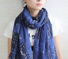 Blue checker voile scarf oversize scarves by blackbeanblackbean, $9.99