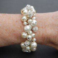Bridal Jewelry Ivory Pearl Rhinestone Bracelet Pearl by AMIdesigns