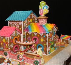 Candy Factory- Great gingerbread house complete with a train track going through it. We would win the Waller Annual Gingerbread House contest for sure! Gingerbread House Designs, Gingerbread House Parties, Gingerbread Village, Christmas Gingerbread House, Gingerbread Man, Christmas Treats, Christmas Baking, Gingerbread Cookies, Christmas Fun