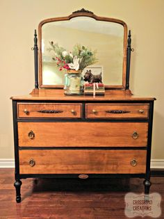 Natural wood and chalk paint dresser using Liquorice and natural wax from Country Chic Paint. #paintedfurniture  www.crossroadcreations.ca