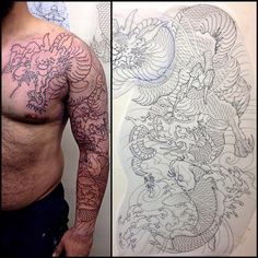 "231 Likes, 6 Comments - Hori Tsugu (@horitsugutattoo) on Instagram: ""1st session #dragon #龍 #koi #鯉  #tattoo #tattoos #irezumi #刺青 #sleeve #fullsleeve #melbourne…"""