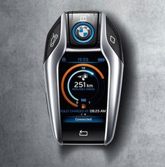 BMW is upgrading the standard remote key fob into a data display unit connected to the i8′s recharging and fuel system, alongside macro-programming for comfort and access use.