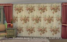 Sim 4 - Flower basket wallpaper set- 3 recolors