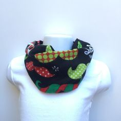 Christmas Baby scarf - baby's first Christmas - baby boy clothes - Mustache baby bib - Staching through the snow scarf