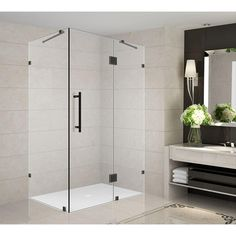 Aston Avalux 32 in. x 34 in. x 72 in. Completely Frameless Shower Enclosure in Oil Rubbed Bronze