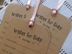 Set of 25 Baby Shower Wishing Tree Tags - Wishes for Baby Girl Kraft Paper with Pink Ribbon Vintage Rustic. $12.99, via Etsy.