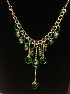 Swarovski Green Heart Crystal necklace with gold plated chain $40