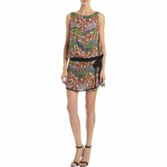 "Proenza Schouler ""Machine"" Print Chiffon Drop Waist Dress $995 @ Barneyswarehouse.com"