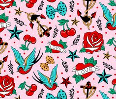 Rockabilly Love fabric by suzytaylordesigns on Spoonflower - custom fabric Cute Wallpapers, Wallpaper Backgrounds, Badass Wallpaper Iphone, Fabric Patterns, Print Patterns, Rockabilly Art, Hello Kitty Tattoos, Charm Pack Quilts, Hello Kitty Birthday
