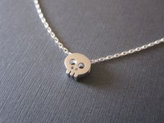 Tiny Silver Skull Necklace by BeasJewels on Etsy