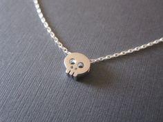 Tiny+Silver+Skull+Necklace+by+BeasJewels+on+Etsy,+$17.00