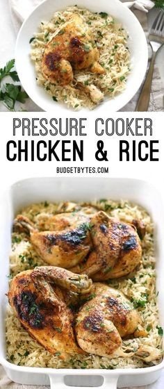 Pressure Cooker Chicken and Rice is an easy and flavorful four-ingredient dinner that leaves zero waste. BudgetBytes.com