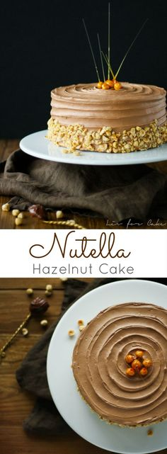 This delicious Nutella Hazelnut Cake is adorned with stunning candied hazelnuts. A delicious Nutella buttercream with a classic vanilla cake. Cupcakes, Cupcake Cakes, Cupcake Recipes, Baking Recipes, Dessert Recipes, Whole30 Recipes, Egg Recipes, Recipies, Healthy Recipes