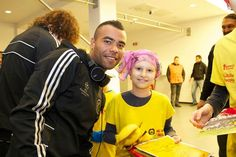 Ashley Cole. Chelsea FC players and manager meet cancer survivors in Bucharest.