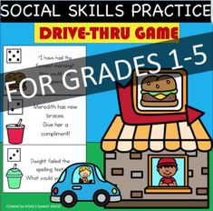 Have lots of fun practicing social skills with this Drive Thru game! Would you like fries with that?!Regular education teachers, special education teachers, SLPs, or other support professionals could all benefit from using these task cards with their students. These cards are specifically designed f...