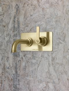 Landmark Pure wall mounted basin mixer in the finish urban brass. Bathroom Taps, Bathrooms, Wall Mounted Basins, Bauhaus Design, Basin Mixer, Minimalist Bathroom, Sconces, Wall Lights, Pure Products