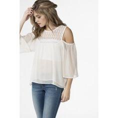 Flowy cold shoulder top