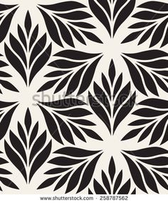 Vector seamless pattern. Monochrome ornament with stylized leaves disposed on hexagonal grid. Geometric stylish background. Vector repeating texture. Modern graphic design.