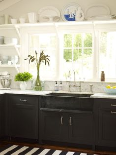 black and white kitchen-seen something like this on tv last night. Love how they had white shevling and black on the lower have!! Would want a double sink though!