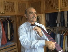 The Serious Business Of Getting Dressed In The Morning.Sean Connery, Marbella, Spain, 1983.