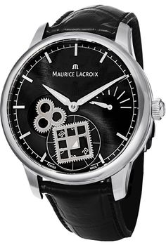 Maurice Lacroix Masterpiece Square Wheel Classic Men's Black Dial Power Reserve Mechanical Swiss Made Watch MP7158-SS001-301