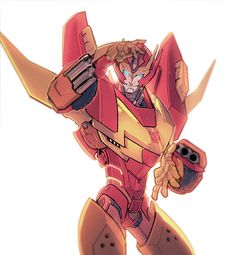 "Rodimus Prime ""Hey pretty lady, what is a femme like you doing here?"" *blushes and begins to stutter* He smirks ""That's alright; I always knew that I was popular with the femmes, and this proves it."""