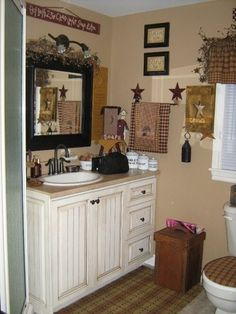 bathroom. a little to busy but also some good simple colors. Primitive Country, Country Decor