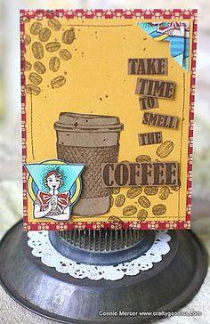 Card by Connie Mercer using Darkroom Door Coffee Time Rubber Stamp Set. http://www.darkroomdoor.com/rubber-stamp-sets/rubber-stamp-set-coffee-time
