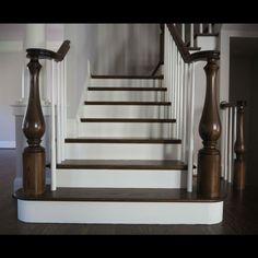 Wood Stair Treads, Wood Balusters, Wood Stairs, Parts Of Stairs, Newel Posts, Lake Cabins, Wood Species, Sweet Home, Living Room